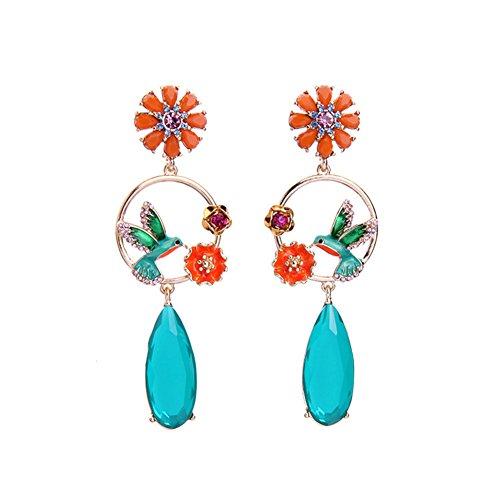 WeiMay Femmes Bijoux Petit oiseau Boucles d'oreilles Cristal pendantes bijoux boucles d'oreilles dames Longue Section size 3.0 * 8.5cm (Bleu)