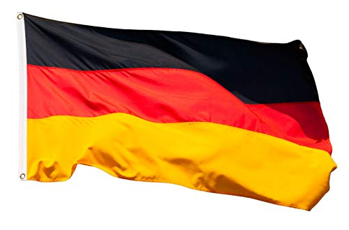 Aricona Deutschland Flagge - Deutschlandfahne 90 x 150 cm mit Messing-Ösen - Strapazierfähige Fahne für Fahnenmast - 100% Polyester