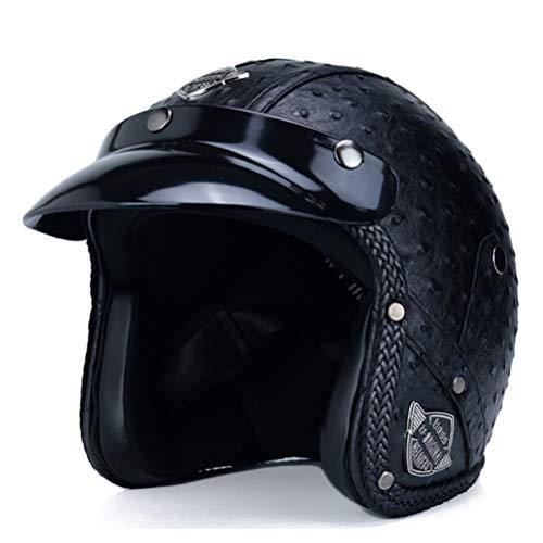 Retro Vintage Casco de motocicleta Chopper Scooter Cuero sintético 3/4 Cara abierta Casco Moto Casco DOT Capacete Máscara Gafas