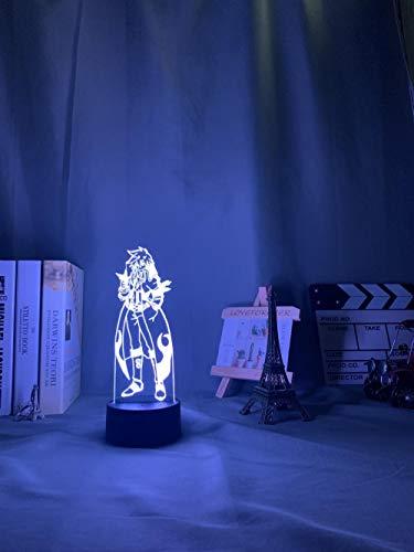 Lámpara De Ilusión 3D Luz De Noche Led Anime Green Lagan Simon Luz De Noche Led Para Decoración De Dormitorio Sensor Táctil Luz De Noche