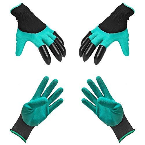 Los guantes Garden Genie, la goma antideslizante de caucho natural y la herramienta de siembra de jardín súper cómoda y resistente al agua protegen las manos (Dos juegos, opcionales)
