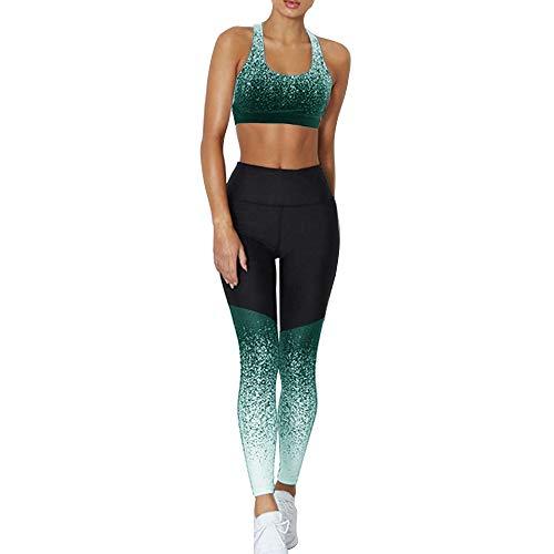 Dihope - Conjunto de ropa de deporte para mujer - 2 piezas, chándal de verano, top ajustado push up, pantalones cortos de deporte, elástico, fitness, jogging, yoga verde 38
