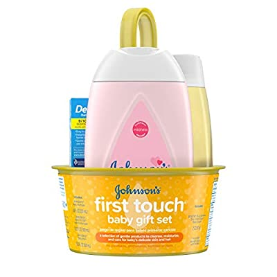 Johnson's First Touch Baby Gift Set, Baby Bath, Skin, & Hair Essential Products, Kit for New Parents with Wash, Shampoo, Lotion, & Diaper Rash Cream, Hypoallergenic & Paraben-Free, 5 Items by Johnson's Baby