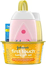 Johnson's First Touch Baby Gift Set, Baby Bath, Skin, and Hair Essential Products for New Parents, Hypoallergenic & Paraben-Free, 5 Items