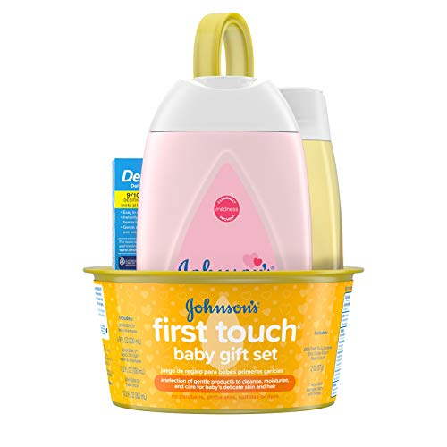Johnson's First Touch Baby Gift Set, Baby Bath, Skin, & Hair Essential Products, Kit for New Parents with Wash, Shampoo, Lotion, & Diaper Rash Cream, Hypoallergenic & Paraben-Free, 5 Items