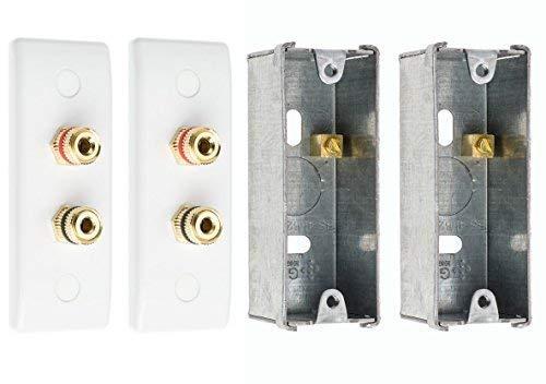 2X Slimline 2 Post Altavoz Sonido Envolvente Placa de Pared con Dorado Bornes + 2X Empotrado para Trasera Cajas No Requiere Soldadura