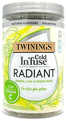 Twinings Cold Infuse Radiant, Lemon & Lime flavour with added Vitamin C, Jar of 12 Infusers