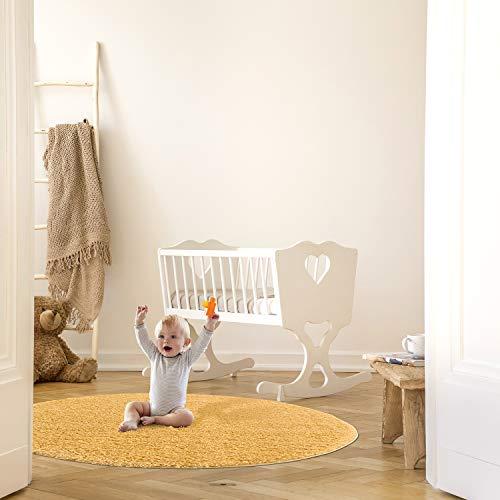 MyShop24h Teppich Wohnzimmer Kinderzimmer - Rund - Shaggy - 120x120 cm - Gelb Einfarbig Flauschig Hochflor Teppiche Modern