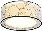 Fácil de ajustar Lámparas de techo del hierro redondo, Vintage LED Tela Village impresión decorativa pendiente de la luz retro iluminación Creative Hotel Casa de Té Lámparas Mesa de comedor (Tamaño: 7