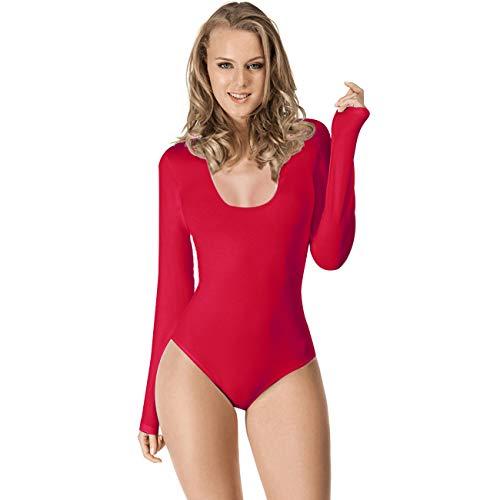 Maillot de Danza Ballet Gimnasia Leotardo Body Clásico Elástico para Mujer de Manga Larga Cuello Redondo (XL, Rojo)