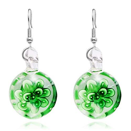 Doyeemei 1 par de aretes colgantes para mujer Diseño simple Inspiración de Murano Pendientes largos redondos de cristal en espiral con flores Brillo en la oscuridad Regalos para mujeres Chicas