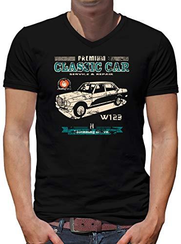 TShirt-People Oldtimer Typ W123 Youngtimer Benz V-Kragen T-Shirt Herren XXXXL Schwarz