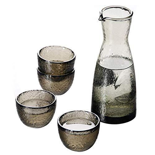 FGDSA 5-teiliges Sake-Set, Glas-Sake-Set im japanischen Stil, einzigartiges Hammer-Textur-Design, für kalten/warmen/heißen Sake/Shochu/Tee, Familie und Freunde