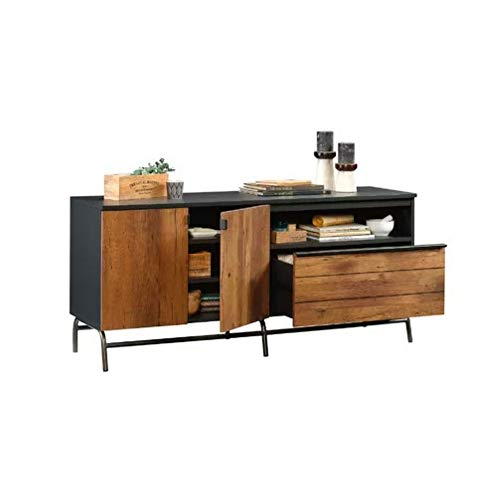 BS TV Credenza 60' Stand Mid Century Modern Rustic Sideboard Buffet Console Storage Cabinet Entertainment Media Center Organizer Audio Video Components Gaming 2 Doors Gliding Drawer Black Oak Vintage