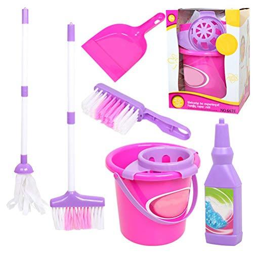 QoFina Kinder Reinigung Spielzeug, 6 PCS Puppe Möbel Reinigung Werkzeuge Set für Barbie Puppenstube Zubehör