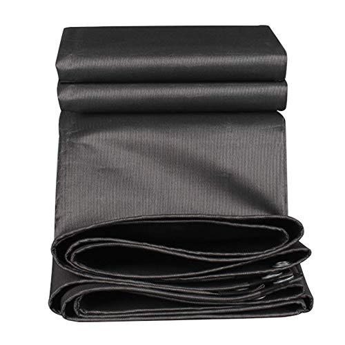 Waterdicht dekzeil met anti-aging rond, zonnebescherming, multifunctionele zonwering van zwart canvas. 12x12ft-4x4m Zwart