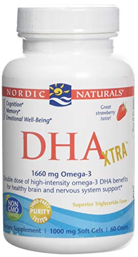 Nordic Naturals Dha Xtra Strawberry Softgels, 1660 mg, Pack of 60 Capsules