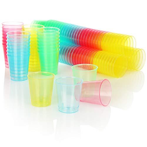 com-four® Bicchiere 128x, Bicchierini riutilizzabili Lavabili in lavastoviglie in plastica, Ideali per scatti e Bicchierini riutilizzabili Corti