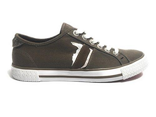 Trussardi Jeans Scarpe Uomo Sneaker Khaki/Khaki Canvas Fondo Gomma US17TJ16