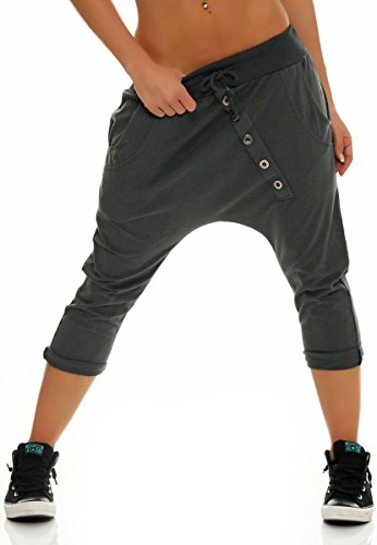 Malito Damen Kurze Hose mit Knopfleiste | Chino Hose in Unifarben | Baggy zum Tanzen | Sweatpants - Trainingshose 8015 (dunkelgrau)
