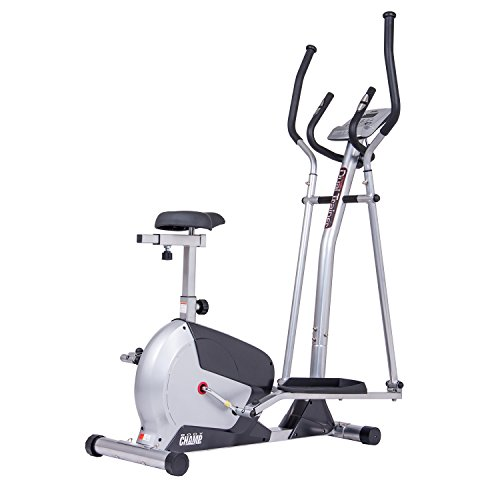 Body Champ 2 in 1 Elliptical Workout and Upright Exercise Bike with Heart Rate, Computer Resistance Exercise Machine/Cardio Home Office Workout Machine