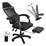 BEEYEO Reclining Office Desk Chair, Adjustable High Back Ergonomic Computer Mesh Recliner Home Office Chairs with Footrest and Lumbar Support, Black