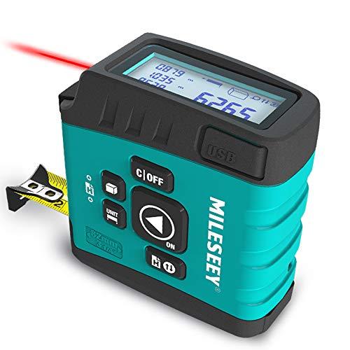 Misura di Nastro Laser Digitale 3 in 1,KKmoon DT20 Misuratore di Distanza Laser 40m & 5m Nastro & Metro a Nastro Digitale con Display LCD da 2,0 pollici M IN FT, Misura di Area Volume Pitagorico
