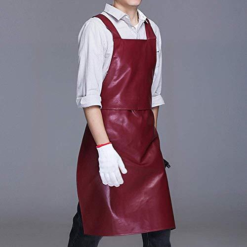 YXDZ Grembiule da Cucina in Pelle Pu Impermeabile E Resistente All'Olio per Uomo E Donna per Adulti Modelli Ristorante Autolavaggio Tuta Grembiule Giuggiola Rosso 86 * 60 Cm