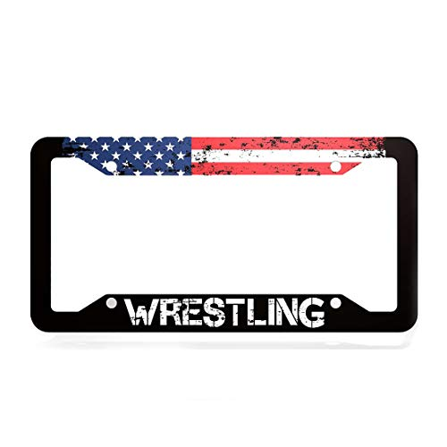 EXMENI American Flag License Plate Frame USA Flag Car Tag Frame Wrestling License Plate Holder United States Flag License Plate Cover 4 Holes and Screws