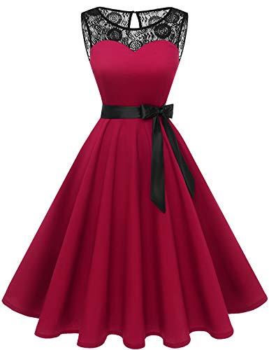 Bbonlinedress 1950er Ärmellos Vintage Retro Spitzenkleid Rundhals Abendkleid Dark Red L