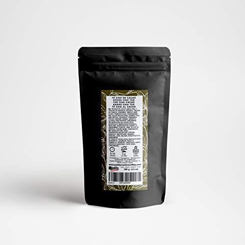 Tè Chai. Cacao chai. Miscela. Con pezzi di cacao (54%), pepe rosa, anice, liquirizia, buccia e pezzi d'arancia, cannella, zenzero, finocchio. Alta qualità. Antiossidante. 100 g.