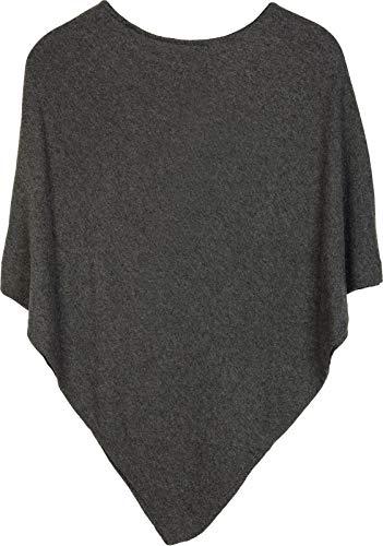 styleBREAKER Damen Feinstrick Poncho in Unifarben, leicht asymmetrischer Schnitt, Ärmellos, Rundhals 08010042, Farbe:Dunkelgrau