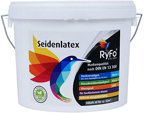RyFo Colors Seidenlatex 6l (Größe wählbar) - hochwertige zertifizierte Profi Wandfarbe, seidenmatte Innen-Dispersion, Latexfarbe, weiß, scheuerbeständig, Nassabriebklasse 1, lösemittelfrei
