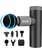 IKARE Mini Massage Gun Deep Tissue Pocket Massager, Muscle Massage Gun for Athletes Rechargeable 4 Speeds Portable Handheld Percussion with 6 Massage Heads