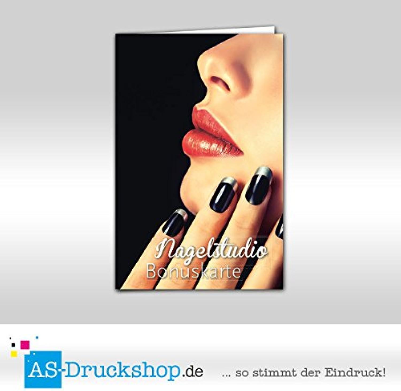 Bonuskarte Nagelstudio   Maniküre  schwarz Style  mit 10 Stempelfeldern   250 Stück B01M9AKEKI     Praktisch Und Wirtschaftlich