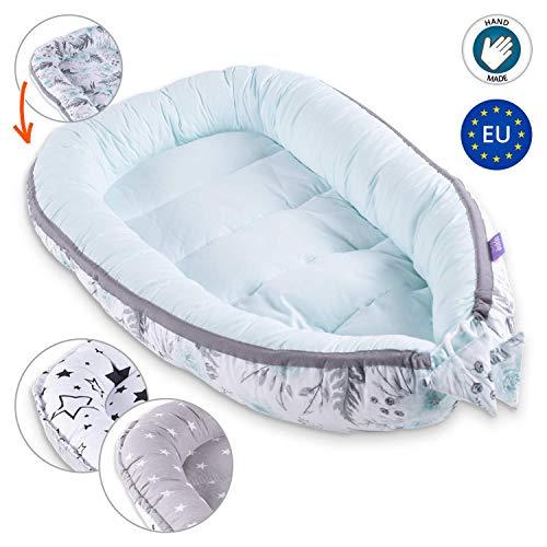 Bebé nido Cocoon para cuna - Capullo para ropa de cama para bebés Ropa de cama Nido de peluche 100% algodón 90 x 50 cm MENTA BLANCO con flores