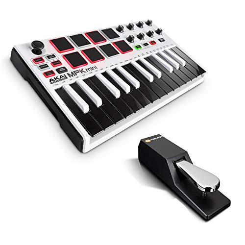 AKAI Professional MPK Mini MKII White + M-Audio SP-2 - Tastiera MIDI Controller USB con 25 Tasti e Software + Pedale di Sustain Universale in Stile Pianoforte