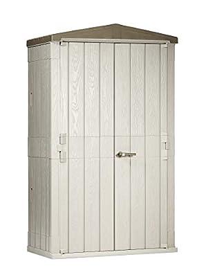 Toomax 76 Cu. Ft. Heavy Duty Weather Resistant Lockable Outdoor Garden Plastic Vertical Storage Shed Cabinet,