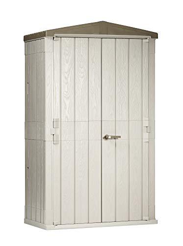 Toomax 76 Cu. Ft. Heavy Duty Weather Resistant Lockable Outdoor Garden Plastic Vertical Storage Shed Cabinet