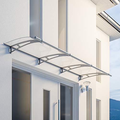 Schulte V1027-10-20 LT-Line Pultbogenvordach, 270 x 95 cm, 4 mm Acrylglas klar, Wandhalter Classic Edelstahl V2A, Vordach mit Alu-Regenrinne