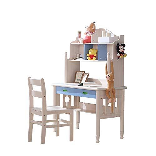 MOMIN Kindersitzgruppe Holz Kindertisch und Stühle Schlafzimmer Studenten Schreibtisch for Junge Mädchen Drawer Bleistift Slot Kids School Workstation (Farbe : Beige, Größe : 1.6x0.55x1.1m)