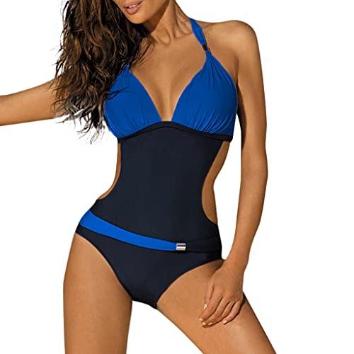 GPQHSM Bikini Traje de baño más del tamaño Azul Rosa Mujeres sólido Empuje Rebordear Vendaje Acolchado hacia Arriba Traje de baño Bikini Traje de baño Atractivo del Bikini (Color : Blue, Size : XL)