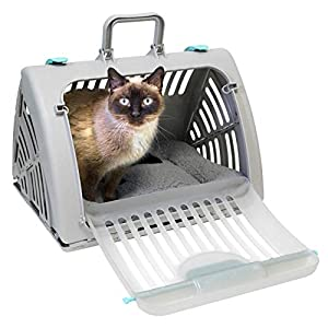 SPORT PET SportPet Designs Foldable Travel Cat Carrier with A Waterproof Bed – Front Door Plastic Collapsible Carrier, Gray (CM-10064-CS01)