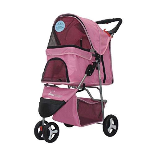 CCQQ Haustier-Kinderwagen-Sonnenschutz-faltender Dreirädriger Mehrzweckwagen Heraus Leichter Handlaufkatze-Haustier-Auto Für Kleine Haustiere,B