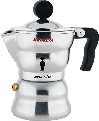 Alessi AAM33 / 1 Moka Espressomaschine aus Aluminiumguss, Griff und Kunststoffknopf, schwarz, 1 Tasse