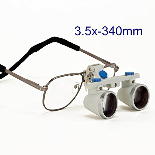 Dental Surgical Loupes, 3.5X, 340mm Working Distance,Titanium Frame Silver