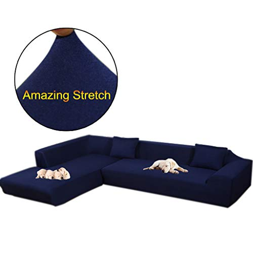Taiyucover Anti-skid Dustproof Sofa Slipcovers ;Armchair/2-Seater/3-Seater sofa covers; Sectional Corner L-Shaped Sofa Protector (Navy, L-Shape(Large 3-Seater sofa + Large 3-Seater sofa))
