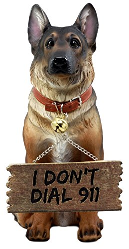 German Shepherd Dog Statue with Jingle Collar and Greeter Sign