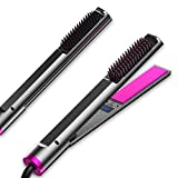 ANNWU Professional Hair Straightener, 3 in 1 Flat Iron for Hair, Hair Straightener and Curler, Electric Hot Comb Hair Straightener,Hair Straightener Brush with Adjustable Temperature, Instant Heating