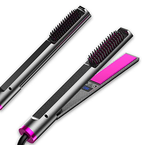 ANNWU Professional Hair Straightener 3 in 1 Flat Iron for Hair Hair Straightener and Curler Electric Hot Comb Hair StraightenerHair Straightener Brush with Adjustable Temperature Instant Heating